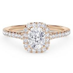 Center of My Universe™ Cushion Halo Engagement Ring with Diamond Band