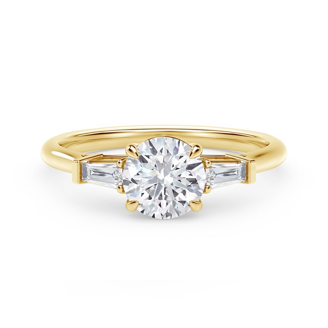 Forevermark Accents™ Engagement Ring with Tapered Baguette Sides