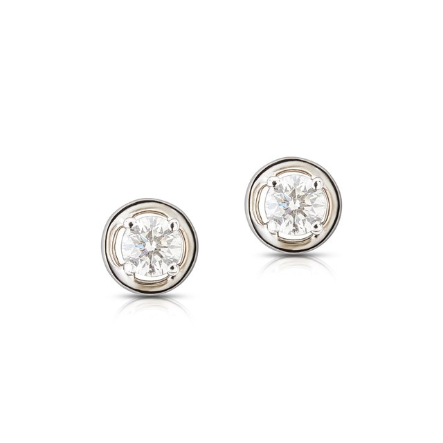Twogether™ Two Diamond Plain Stud Earrings