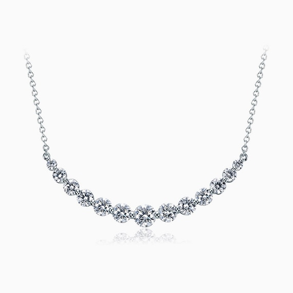 Diamond Line Smile Necklace