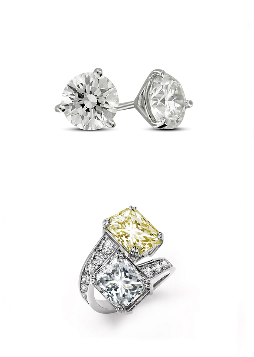 Top Forevermark By Mémoire 3 G Diamond Stud Earring Set In Platinum 4 0 Ctw Bottom Exceptional Diamonds Two Stone Ring With 5 03 Ct