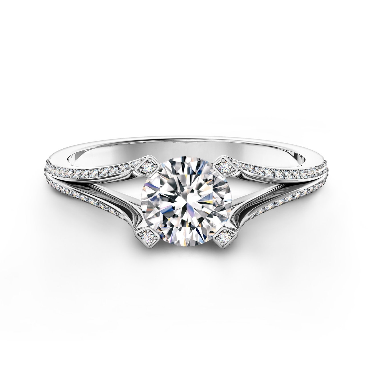 Cornerstones™ solitaire open shank pavé ring