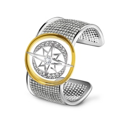 Artemis™ Collection Star and Moon Brushed Cuff Bracelet
