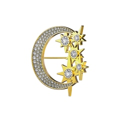 Artemis™ Collection Multi Stone Moon and Stars Brooch