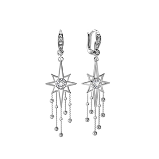 Artemis™ Collection Star Tassel Earrings in White Gold