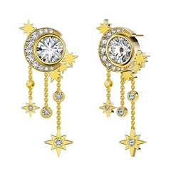 Artemis™ Collection Star Tassel Earrings in Yellow Gold