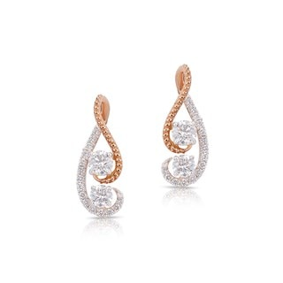 Twogether™ Two Diamond Semi Pavé Drop Earrings