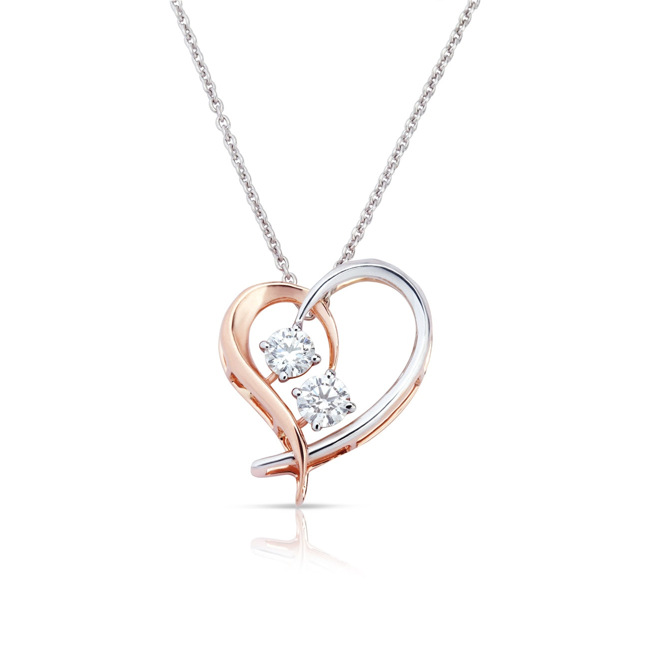 Twogether™ Two Diamond Plain Heart Pendant