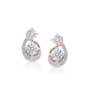 Twogether™ Collection Two Stone Multi-Metal Arch Earrings