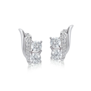 Twogether™ Collection Two Stone Multi-Metal Crossover Earrings