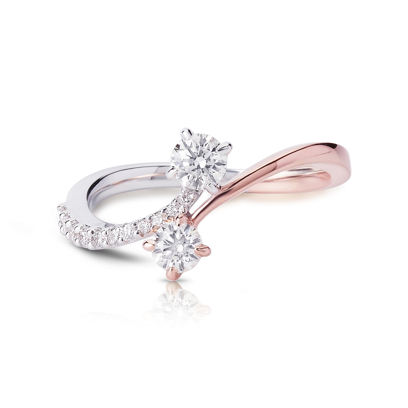 Twogether™ Collection Two Stone Multi-Metal Arch Ring