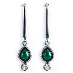 Zanyah™ Long Drop Diamond Earrings with Green and Black Enamel