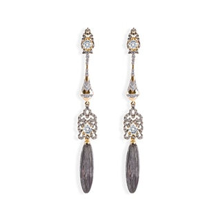Zanyah™ Long Drop Diamond Earrings with Black Gold