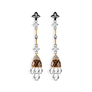 Zanyah™ Long Drop Diamond Earrings with Black and Brown Enamel