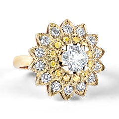 Zanyah™ Cocktail Diamond Ring with Yellow and White Pavé