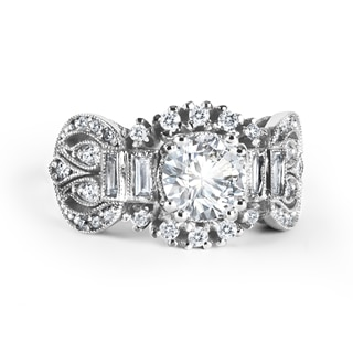Zanyah™ Vintage Halo Diamond Ring in White Gold