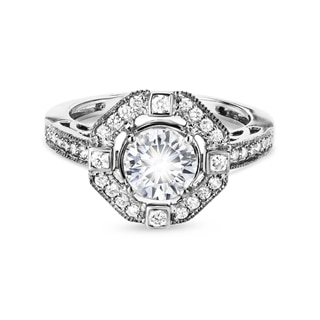 Zanyah™ Vintage Solitaire Halo Diamond Ring
