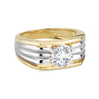 Zanyah™ Solitaire Vintage Mens Diamond Ring in Yellow and White Gold