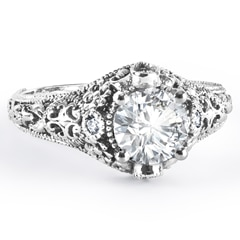 Zanyah™ Vintage Diamond Ring in White Gold