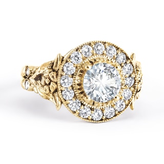 Zanyah™ Vintage Halo Diamond Ring in Yellow Gold