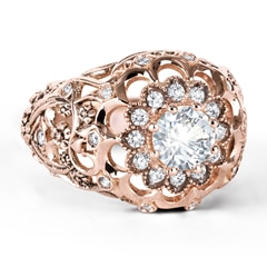 Zanyah™ Vintage Diamond Cocktail Ring in Rose Gold