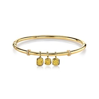 Golden Diamonds Three Stone Bangle