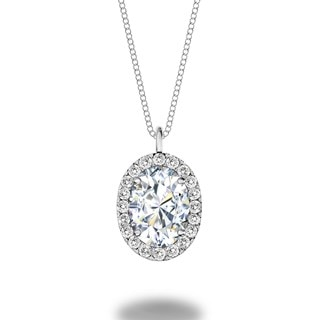 Oval Shaped Diamond Halo Pendant