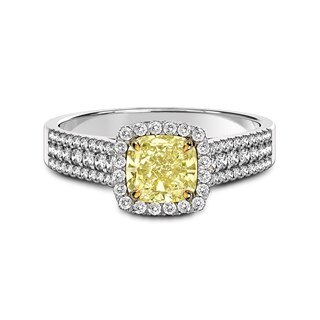 Fancy Yellow Diamond Three Row Ring
