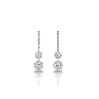 Halo Two Tier Diamond Drop Earrings