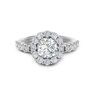 Cluster Halo Diamond Engagement Ring