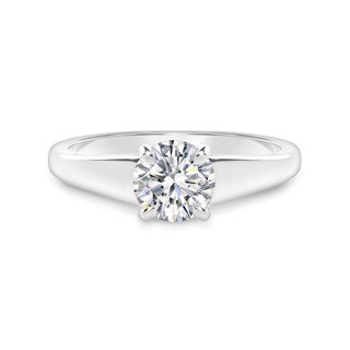 High Tapered Solitaire Diamond Engagement Ring