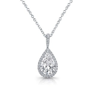 Classic Halo Pear Pendant with Bail