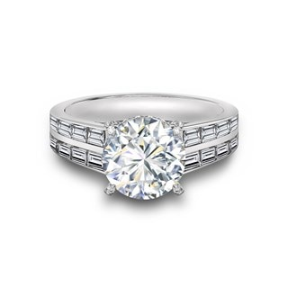 Double Row Baguette Engagement Ring