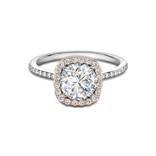 Rose and White Gold Halo Diamond Ring