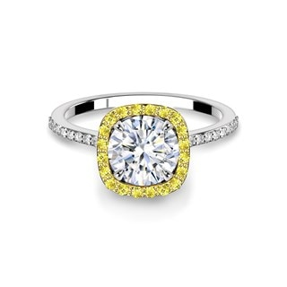 Fancy Yellow Accented Halo Engagement Ring