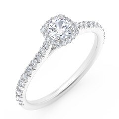 Center of My Universe® Round with Cushion Halo Engagement Ring with Diamond Band