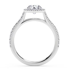 Center of My Universe® Round Halo Engagement Ring with Diamond Band