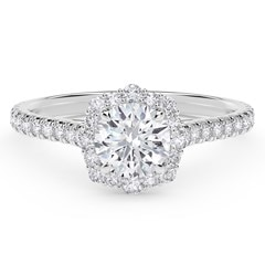 Center of My Universe™ Floral Halo Engagement Ring with Diamond Band