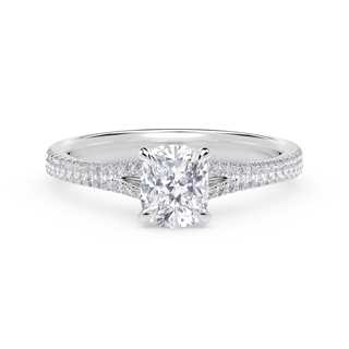 Forevermark Icon™ Cushion Engagement Ring with Two Row Pave Band