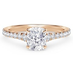Forevermark Icon™ Setting Cushion Engagement Ring with Diamond Band