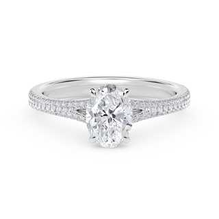 Forevermark Icon™ Oval Engagement Ring with Two Row Pave Band