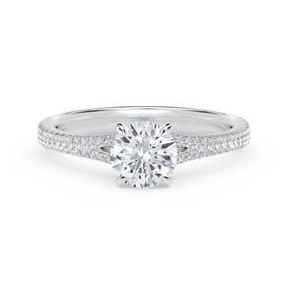 Forevermark Icon™ Round Engagement Ring with Two Row Pave Band