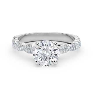 Forevermark Icon™ Setting Round Engagement Ring with Twisted Diamond Band