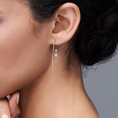 The Forevermark Alchemy™ Collection by Jade Trau Large Hoop with Single Drop