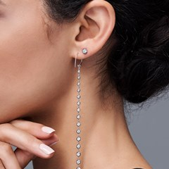 The Forevermark Alchemy™ Collection by Jade Trau Hoop with Long Drop (Available in four shapes)
