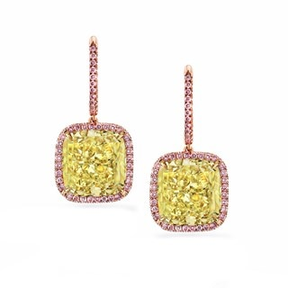 Fancy Light Yellow Diamond Halo Drop Earrings