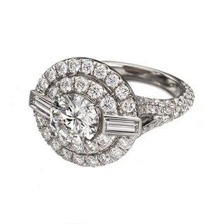 Deco Double Halo Ring