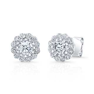 Distinctive Cluster Diamond Stud Earrings