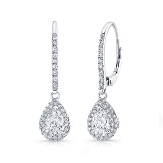 Pear Halo Drop Earrings