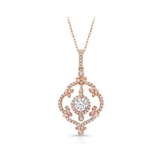 Round shape diamond necklaces forevermark vintage rose gold diamond pendant aloadofball Choice Image